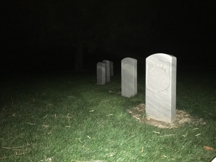Camp Floyd Cemetery at night